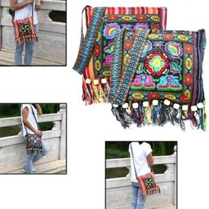 wood beads fringe embroidered hippie boho bag